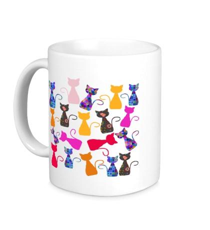 Керамическая кружка Цветные кошки
