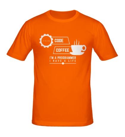 Мужская футболка Programmer: Coffee & Code