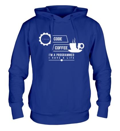Толстовка с капюшоном Programmer: Coffee & Code