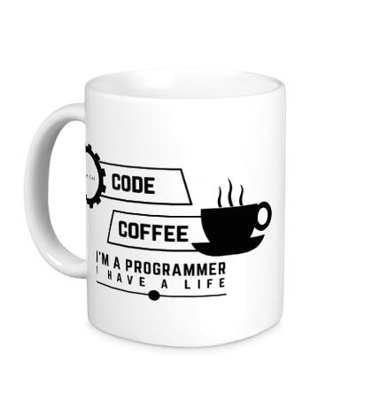 Керамическая кружка Programmer: Coffee & Code