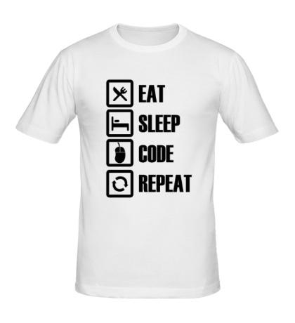 Мужская футболка Eat, sleep, code, repeat