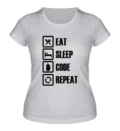 Женская футболка Eat, sleep, code, repeat
