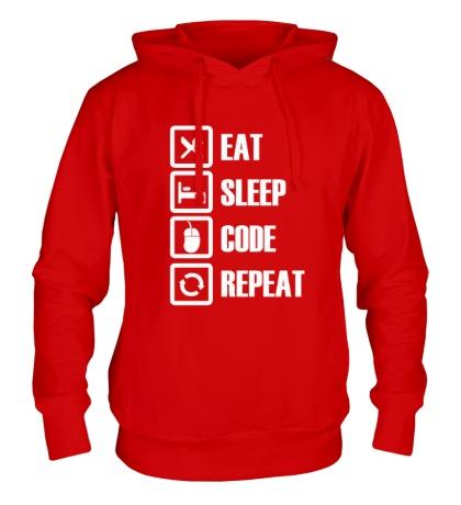 Толстовка с капюшоном Eat, sleep, code, repeat