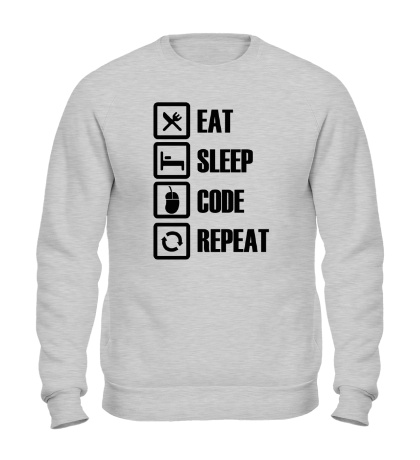 Свитшот Eat, sleep, code, repeat