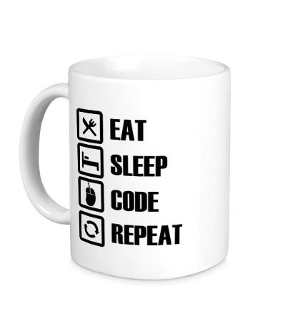 Керамическая кружка Eat, sleep, code, repeat
