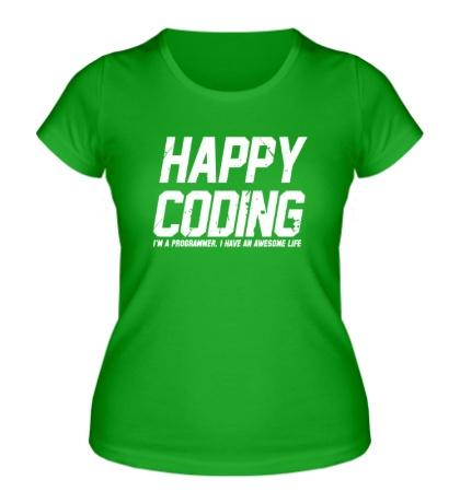 Женская футболка Happy Coding