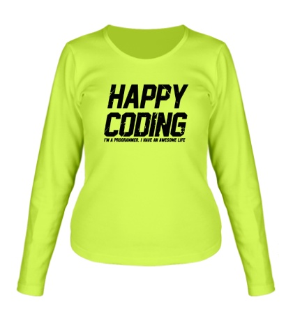 Женский лонгслив Happy Coding