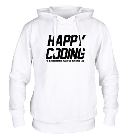 Толстовка с капюшоном Happy Coding