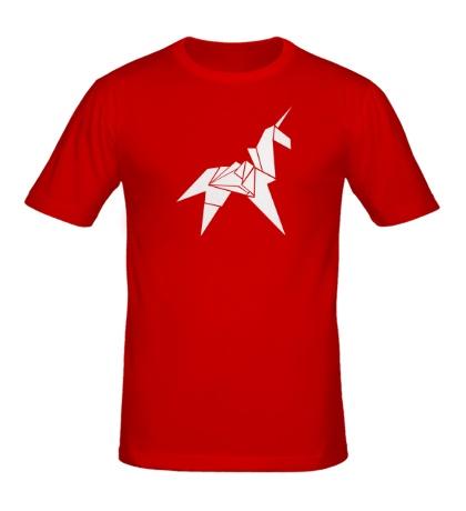 Мужская футболка Оригами Единорог