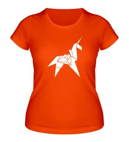 Женская футболка Оригами Единорог