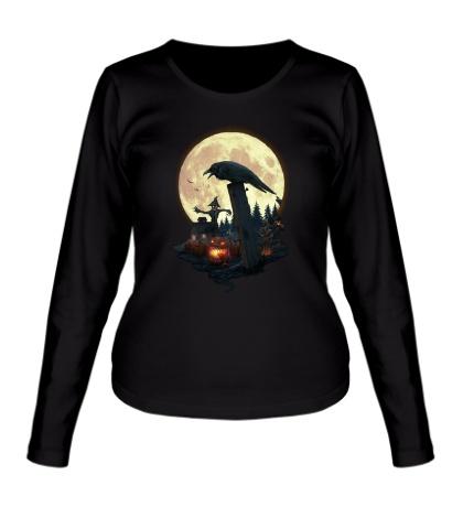 Женский лонгслив Лунный ворон