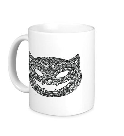 Керамическая кружка Кошка с хэллоуинским узором
