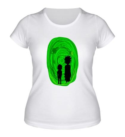 Женская футболка Рик и Морти в портале