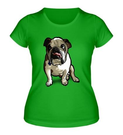 Женская футболка Задумчивый бульдог