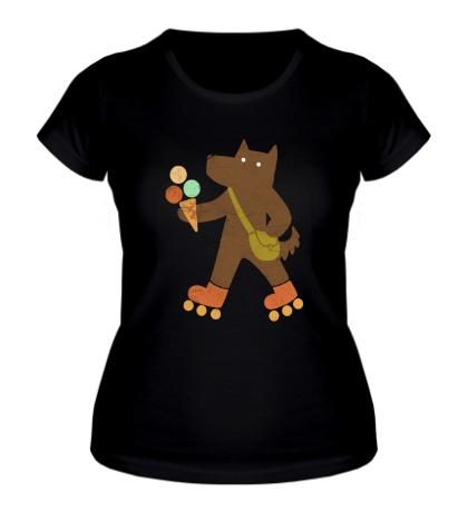 Женская футболка Собака на роликах
