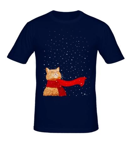 Мужская футболка Зимний кот