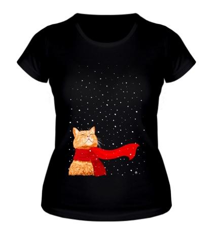 Женская футболка Зимний кот