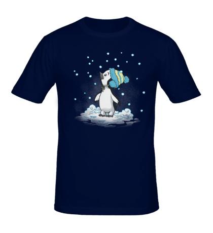 Мужская футболка Первый снег пингвина