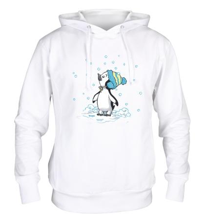 Толстовка с капюшоном Первый снег пингвина
