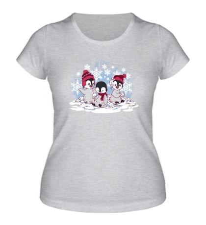 Женская футболка Снежные пингвины