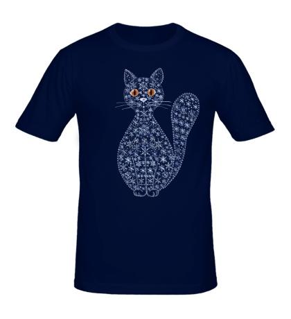 Мужская футболка Кошка из снежинок