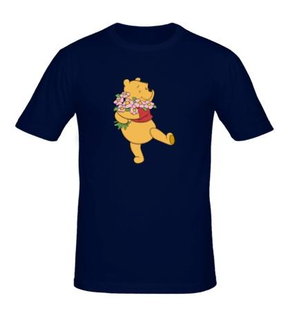 Мужская футболка Винни Пух с букетом