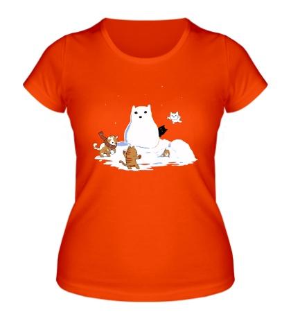 Женская футболка Снежные коты