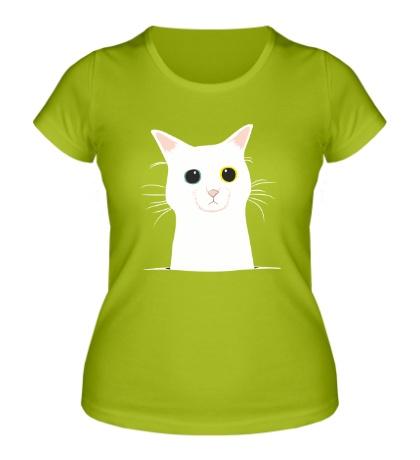 Женская футболка Грустный котейка