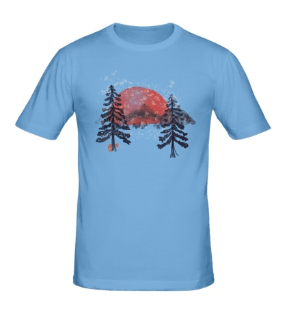 Мужская футболка «Зимний закат»