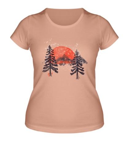 Женская футболка Зимний закат