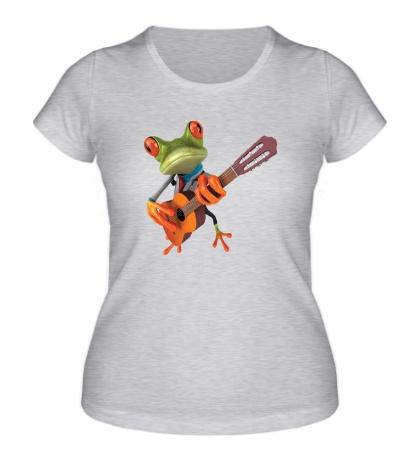 Женская футболка Лягушенок музыкант
