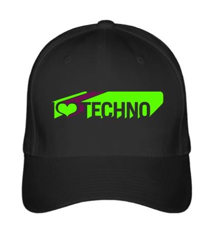 Бейсболка I love Techno Glow