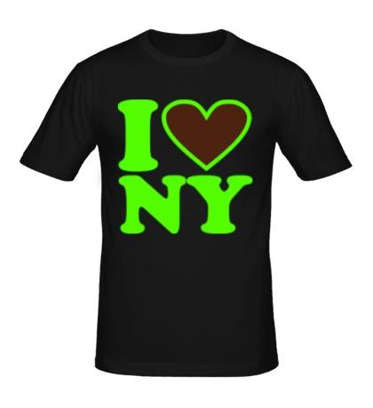 Мужская футболка I love NY Glow