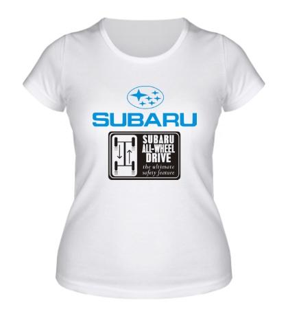 Женская футболка Subaru Wheel Drive