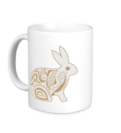 Керамическая кружка Расписной заяц