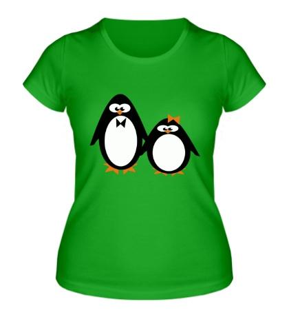 Женская футболка Влюбленные пингвины