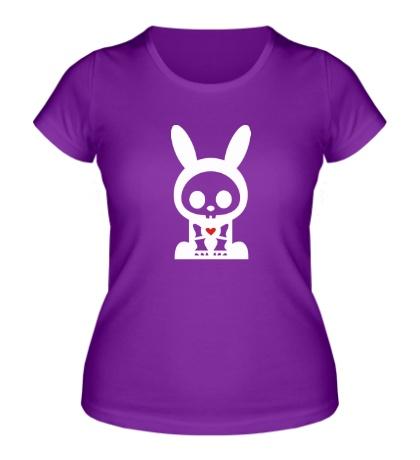 Женская футболка Скелет зайца