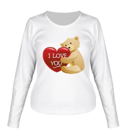 Женский лонгслив Медведь с сердцем