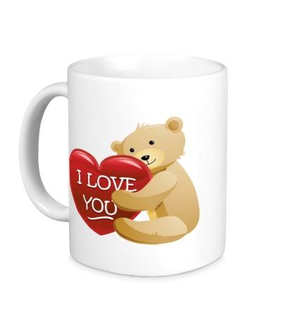 Керамическая кружка Медведь с сердцем