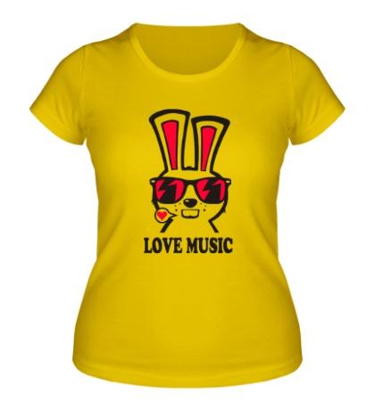 Женская футболка Rabbit Love Music