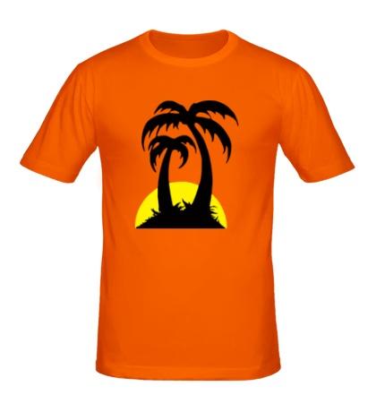 Мужская футболка Пальмы на закате