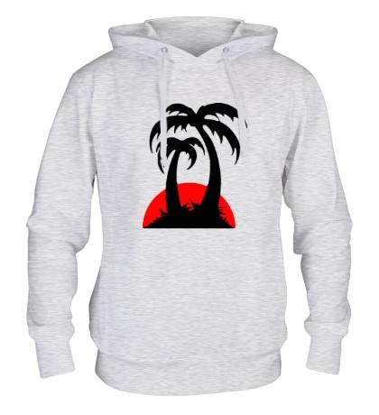 Толстовка с капюшоном Пальмы на закате
