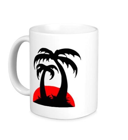 Керамическая кружка Пальмы на закате