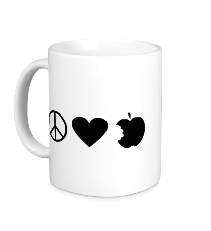 Керамическая кружка Peace Love Apple