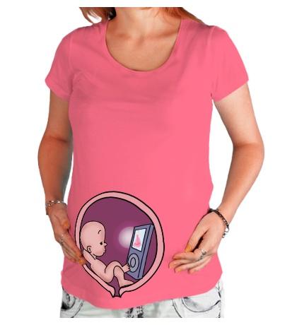 Футболка для беременной Ребёнок и ipod