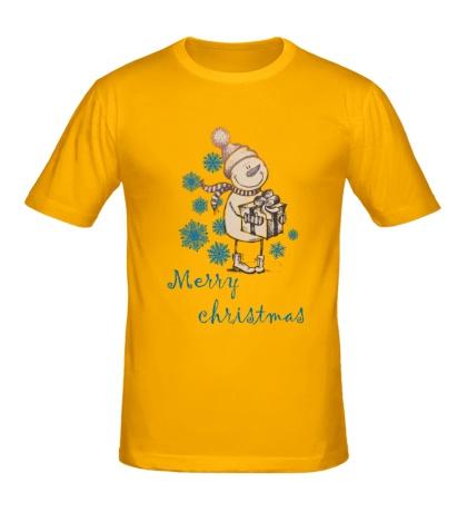 Мужская футболка Snowman: Merry Christmas