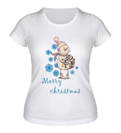 Женская футболка Snowman: Merry Christmas