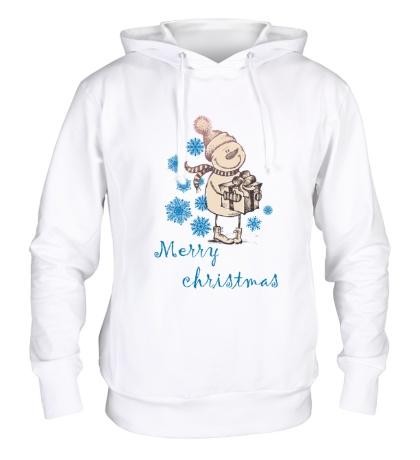 Толстовка с капюшоном Snowman: Merry Christmas