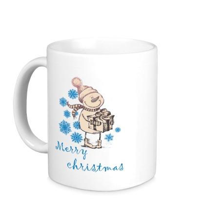 Керамическая кружка Snowman: Merry Christmas
