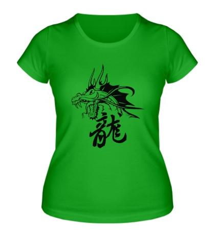 Женская футболка Дракон с иероглифом